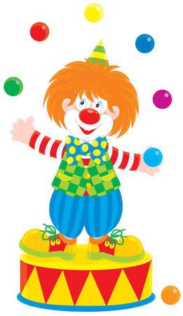 entertaining: Circus clown juggler