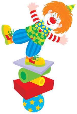 cartoon circus: Circus clown equilibrist Illustration
