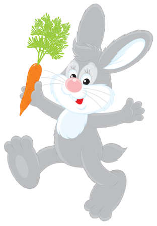 smiling grey rabbit holding a red carrot Vector