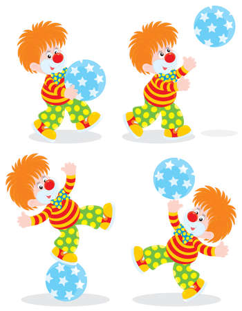 circus clown playing with a ball