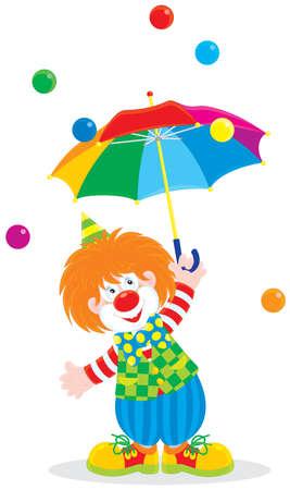 clown cirque: Clown de cirque avec un parapluie Illustration