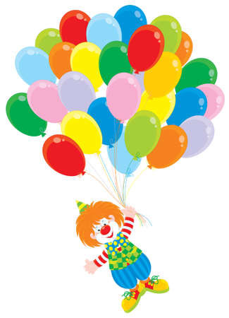 cartoon circus: funny circus clown flying with colorful balloons