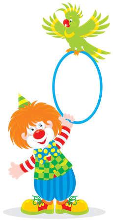 clown cirque: clown de cirque en jouant avec un perroquet vert Illustration