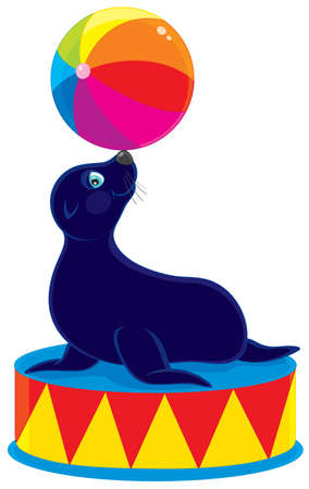 cartooning: Circus sea bear with a colorful ball