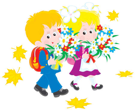 Schoolboy and schoolgirl first-graders Vector