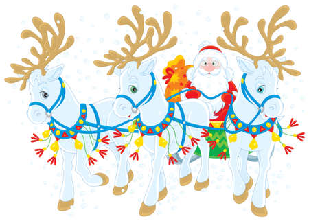 Santa Claus carrying Christmas gifts in his sleigh Stock Vector - 13957344
