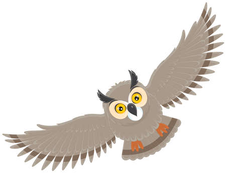cartoon owl: flying owl