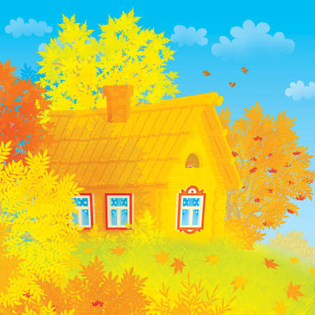 Village house among autumn trees photo