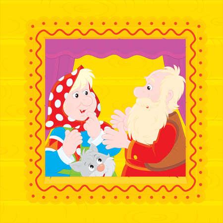 gran: Grandpa and grandma in their village house Illustration