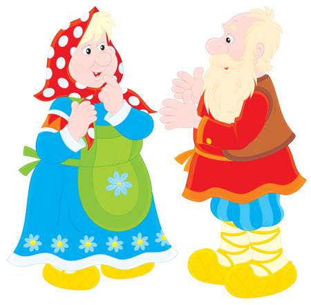 köylü: Büyükbaba ve büyükanne Çizim