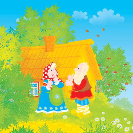 folk tales: Grandpa and grandma in a village