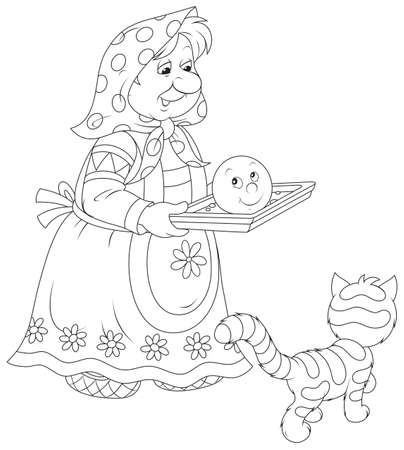 folk tales: Granny holds a freshly baked roll