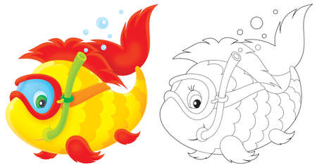aquarian: Funny fish swimming with mask and snorkel
