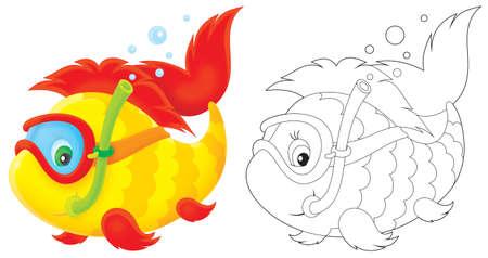 aquarian fish: Funny fish swimming with mask and snorkel