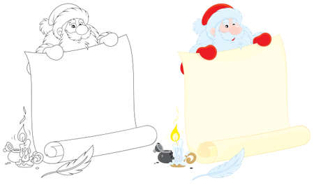 Santa holds a scroll of paper for holiday ad Vector