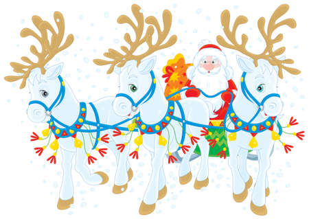 Santa Claus carries Christmas gifts Stock Photo - 16293932