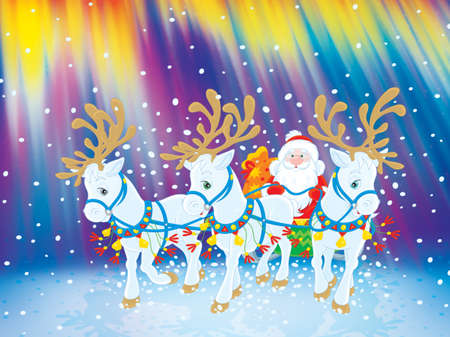carries: Santa carries Christmas gifts with reindeers Stock Photo