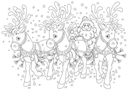 moroz: Santa carrying gifts in a sleigh with reindeers