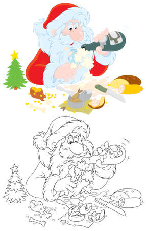 grandfather frost: Santa Claus drinking a large bottle of champagne