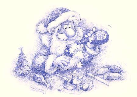 slightly: Santa slightly drunk Stock Photo