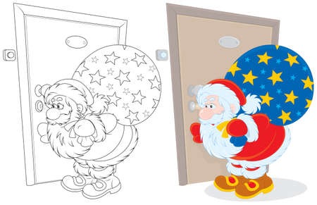 Santa with gifts peeping through a keyhole Vector
