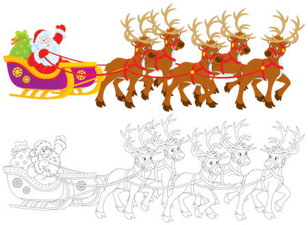 grandfather frost: Sleigh of Santa Claus Stock Photo
