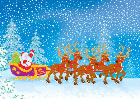 Santa with Christmas gifts drives in his sleigh