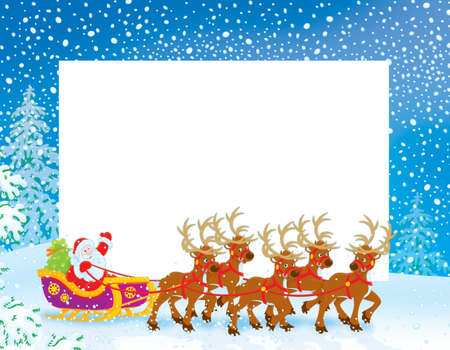 Christmas Border with Sleigh of Santa Claus photo