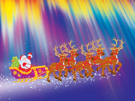 night before christmas: Sleigh of Santa Claus flies through polar lights