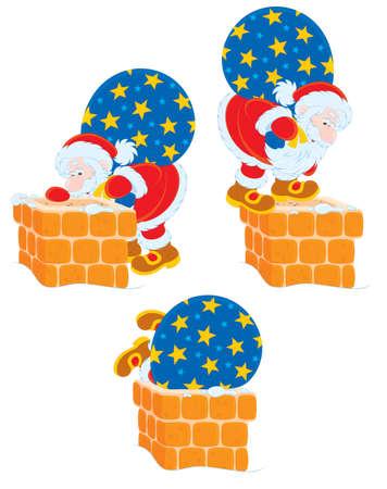 toy sack: Santa y chimenea Vectores