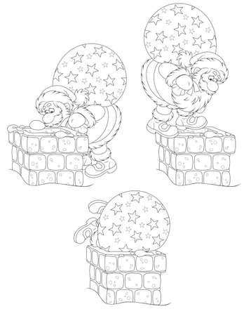 toy sack: Santa con los regalos y la chimenea Vectores