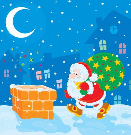 christmastide: Santa with Christmas gifts on a housetop