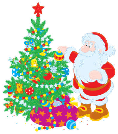 christmastide: Santa Claus decorating a fir for Christmas