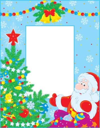 christmas photo frame: border with Santa Claus and Christmas tree Illustration
