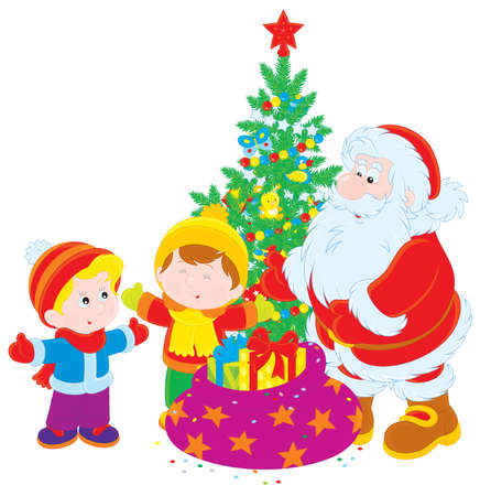 Santa Claus gives Christmas presents to children Vector