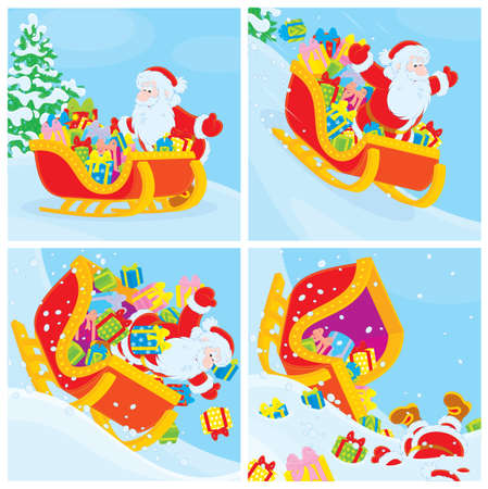 christmastide: Santa in his sleigh slides down the hill