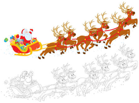 santas sleigh: Sleigh of Santa Claus Illustration