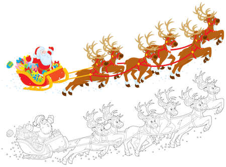 st claus: Sleigh of Santa taking off