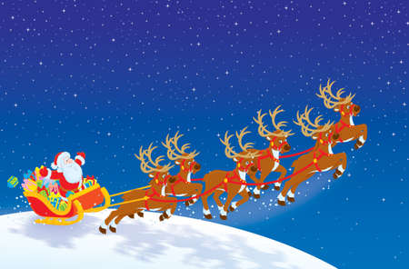 cartoon santa: Sleigh of Santa taking off in Christmas night sky