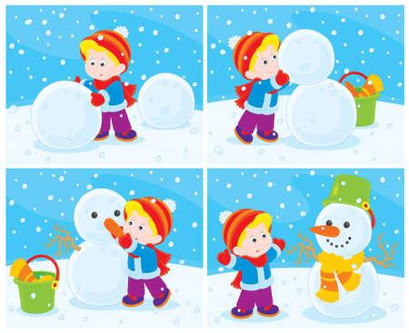 nenes jugando: Mu�eco de nieve Vectores