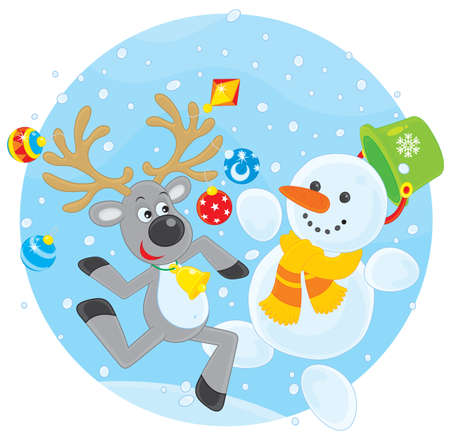 Reindeer and Snowman dancing Vector