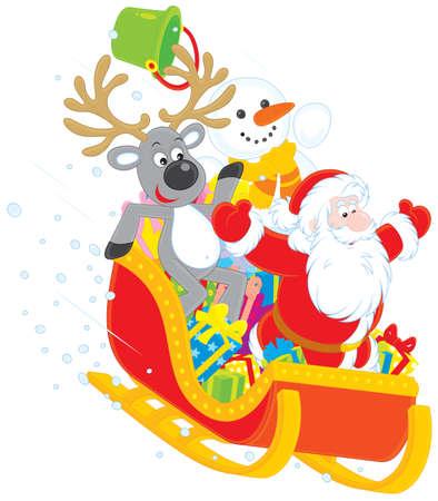 papa noel en trineo: Santa, reno y muñeco de nieve en un trineo Vectores