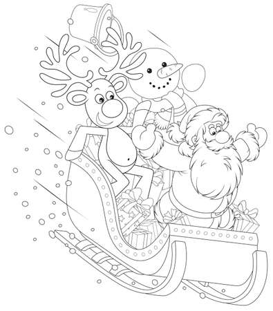 christmastide: Santa, Reindeer and Snowman in a sleigh Illustration