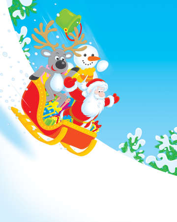 toboggan: Santa, Reindeer and Snowman carrying gifts