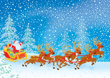 st claus: Santa with Christmas gifts drives in his sleigh