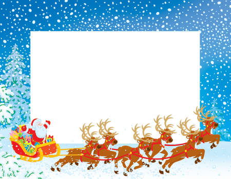 santas sleigh: Border with Sleigh of Santa Claus Stock Photo