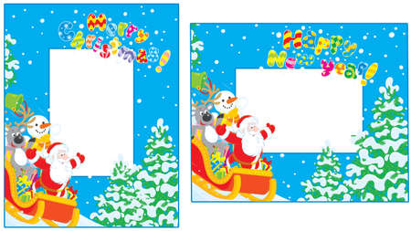 Christmas and New Year borders Stock Vector - 16758554