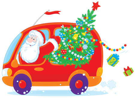 st claus: Santa carries Christmas tree and gifts in his car Illustration