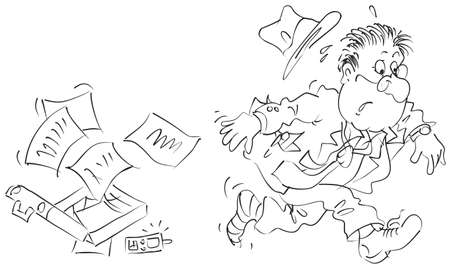 oblivious: Clerk running in a hurry