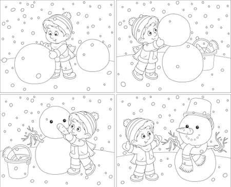 children s art: Snowman Stock Photo